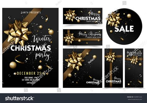 layout design for christmas party holiday merry christmas party layout poster template set