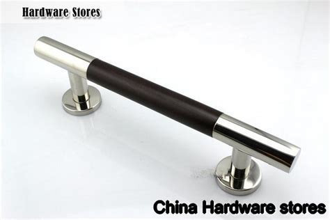 black stainless cabinet hardware 400mm 304 stainless steel walnut glass wood door