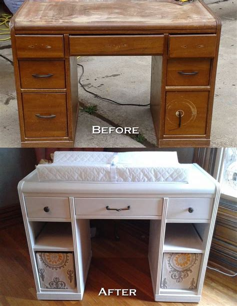 desk re purposed into a changing table pin found by