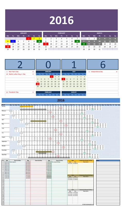 Excel Templates Calendar by Free 2016 Excel Calendars Template
