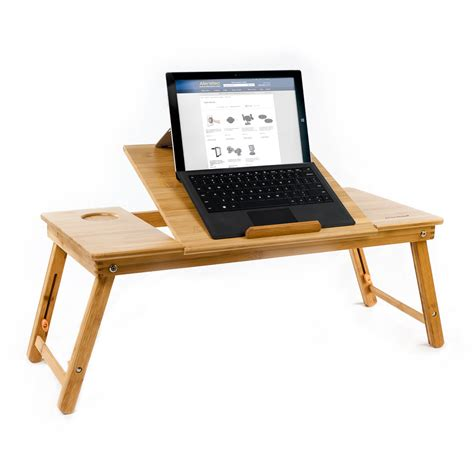 Natural Bamboo Tablet Laptop Up To 15in Cooling Stand With Laptop Cooling Desk