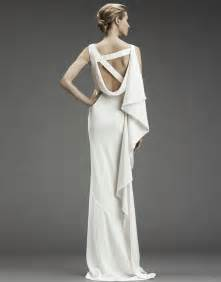 nicole miller column wedding dress with asymmetric criss