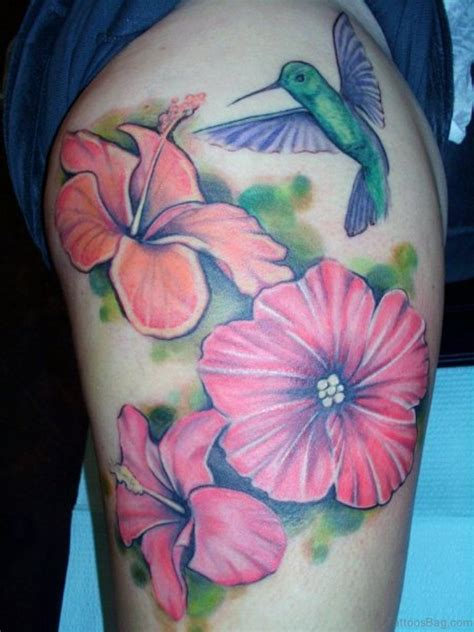 thigh flower tattoos evergreen flowers tattoos on thigh