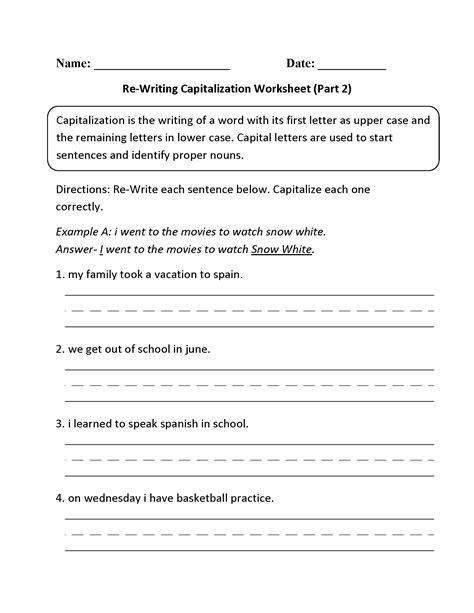 Kindergarten Capitalization Worksheets by Englishlinx Capitalization Worksheets