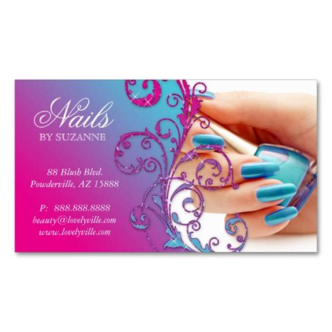 nail salon business card glitter blue pink salon