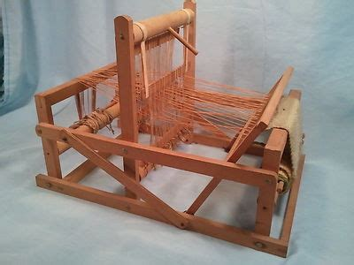 antique wooden table top hand weaving loom fully