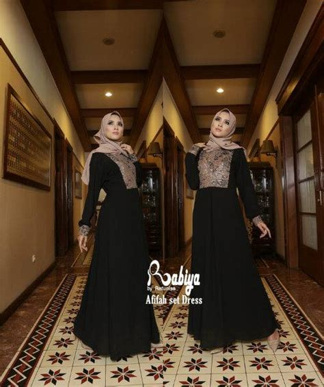 Abaya Set Ulla Mint Merah afifah hitam pusat busana gaun pesta muslim modern