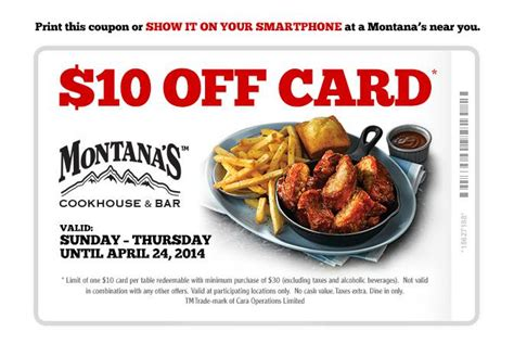 grocery coupons edmonton printable montana s cookhouse bar canada coupon 10 off 30