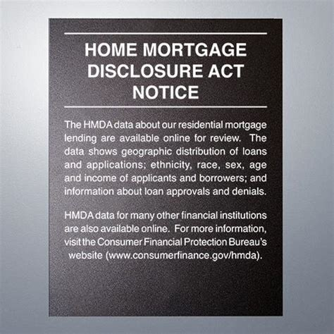 home mortgage disclosure act notice 11 quot x 14 quot mandatory