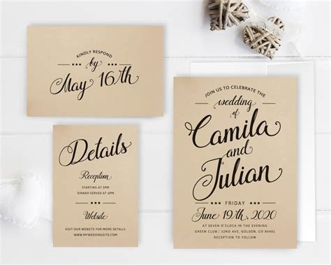 Package Wedding Invitations by Cheap Wedding Invitation Packages Kraft Wedding Invitation