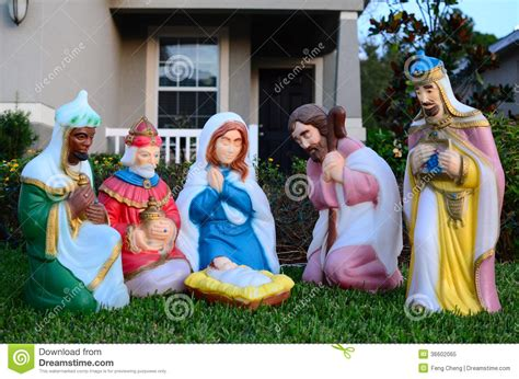 the birth of baby jesus christ statue royalty free stock
