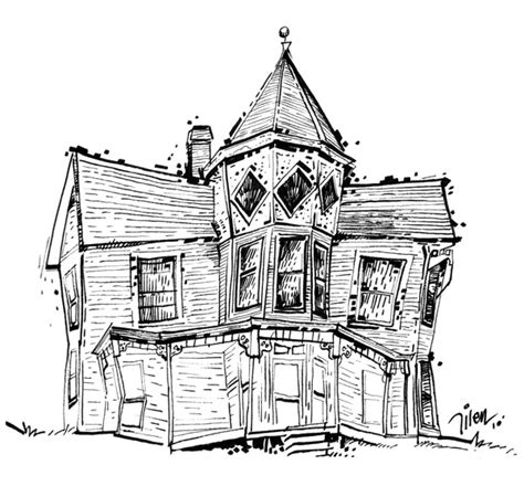 drawing of house pen marker magic line drawing 1 old house i