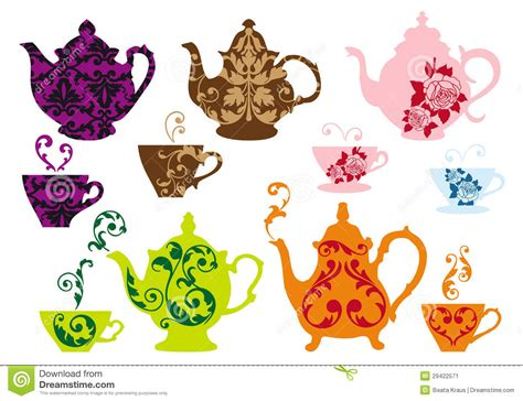 tea pots and cups with baroque pattern vector stock image