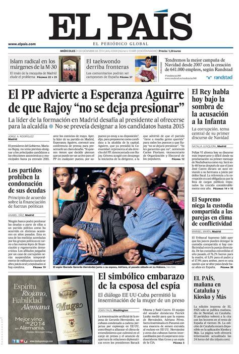 noticias sobre banca el pas portada de el pa 205 s del 24 12 2014