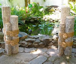 Set of two three wood marine pilings roped together the pilings
