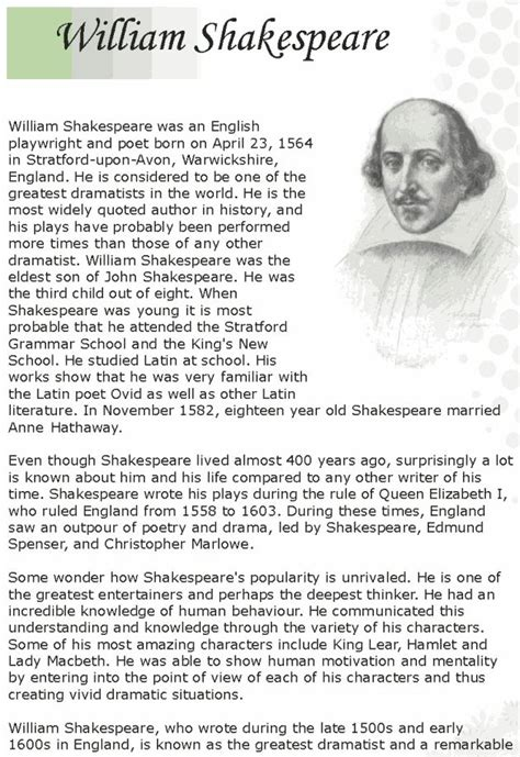 Biography Of William Shakespeare Lesson Plan   grade 7 reading lesson 12 biographies shakespeare 1