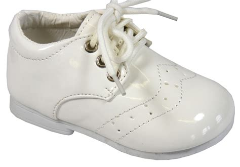 baby boy infant toddler white formal lace up shoes