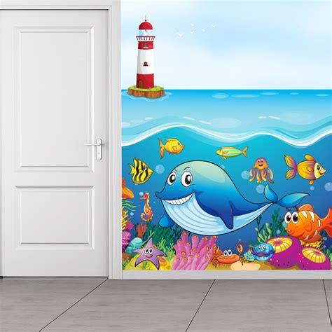 whale friends   sea wallpaper wall mural
