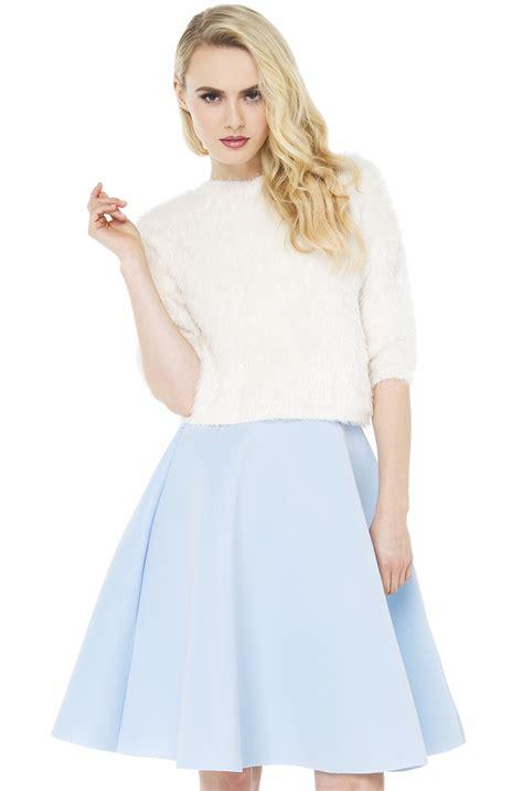 scuba light blue midi skirt