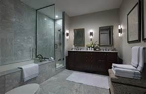 Master ensuite with double sink custom built vanity step in shower