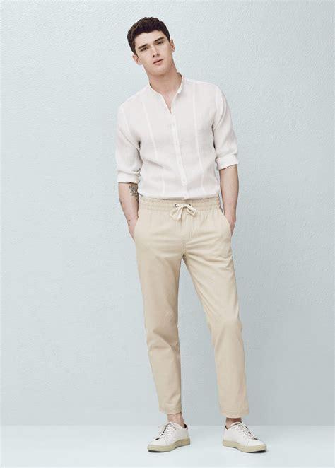 noah mills taille linen blend jogging trousers mango man pantalon homme