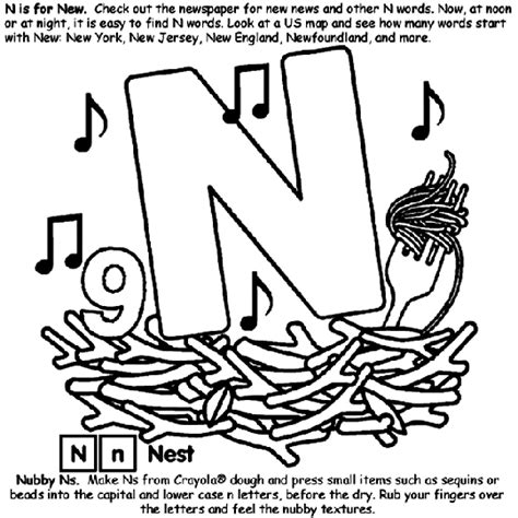 Letter N Coloring Pages Free by Alphabet N Coloring Page Crayola