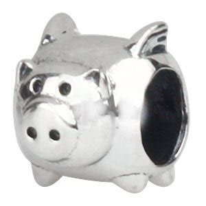 flying pig sterling silver charm bead fits pandora