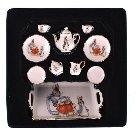 dolls house tea set beatrix potter peter rabbit dolls house porcelain tea set pink cat shop