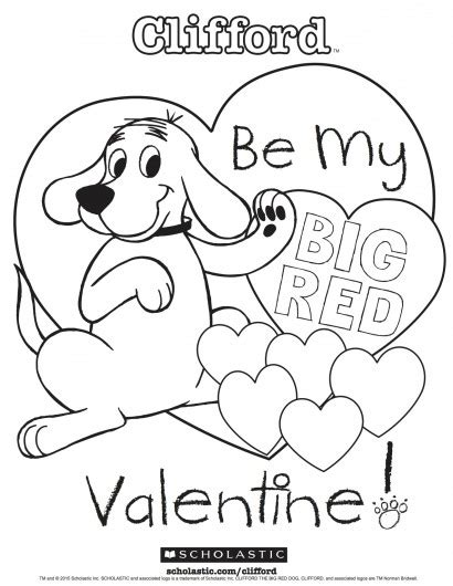 valentine dog coloring page clifford s my big red valentine coloring sheet parents