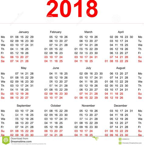 Calendar Weeks 2018 2018 Calendar Template Vertical Weeks Day Monday
