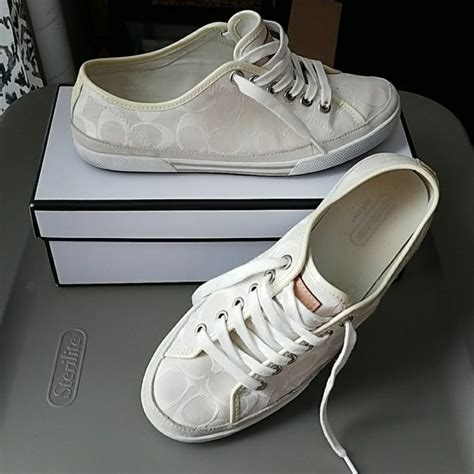 white coach sneakers 80 coach shoes all white edith coach sneakers size