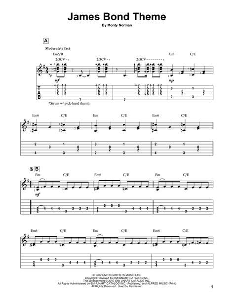 bond themes list james bond theme guitar tab by monty norman guitar tab