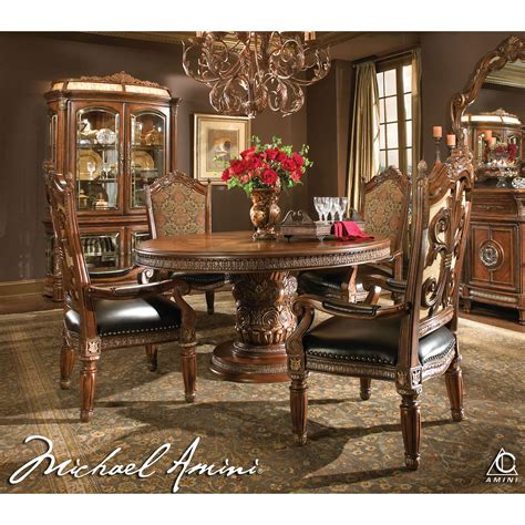 8 Pc Dining Room Set michael amini 5pc villa valencia round oval dining table