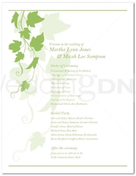 Printable Ivy Wedding Program Template One Page Event Program Template