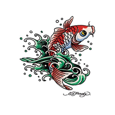 ed hardy koi fish temporary tattoo goimprints