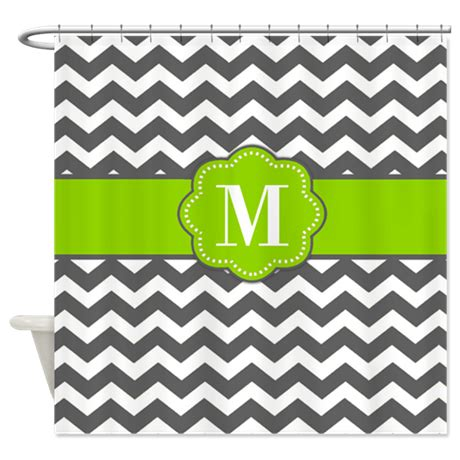 lime green and gray shower curtain gray lime green chevron shower curtain by