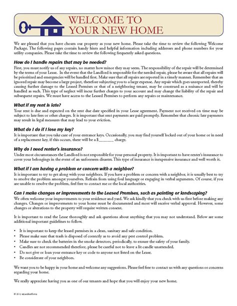 Tenant Welcome Letter Ez Landlord Forms Limited