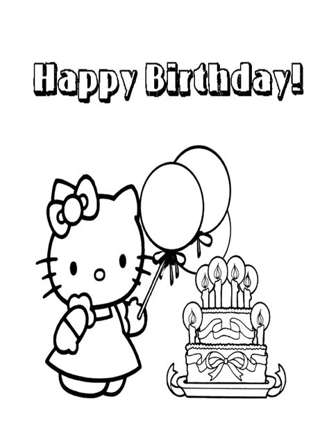 happy birthday coloring pages hello kitty hello kitty coloring pages happy birthday az coloring pages