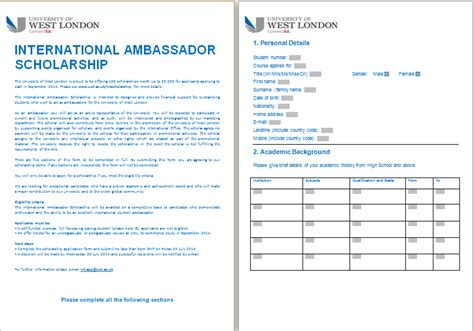 scholarship form template ms word formal scholarship application form template