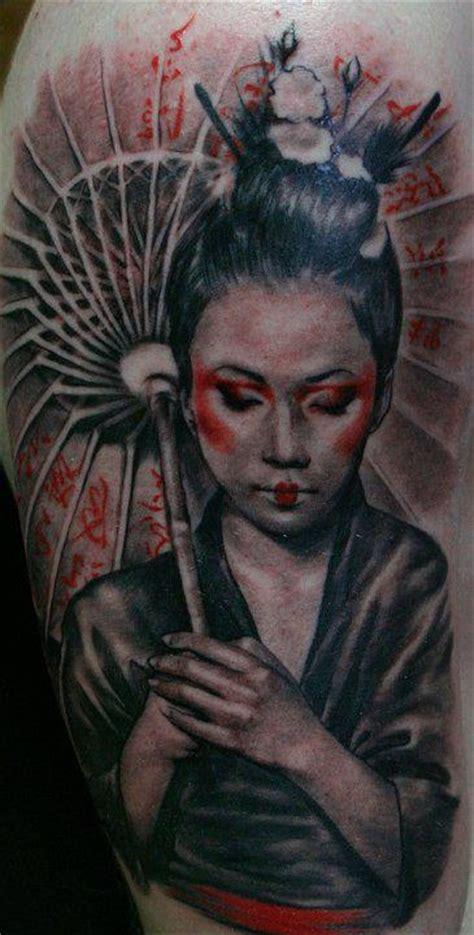 geisha umbrella tattoo axi goregots super genius tattoo seattle wa color