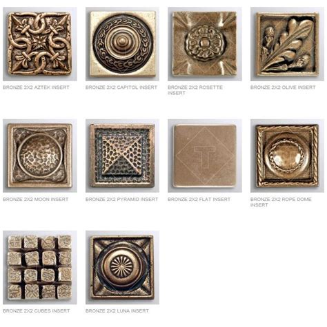 2x2 Metal Accent Tiles by Bronze Inserts Decorative Muretto Plates