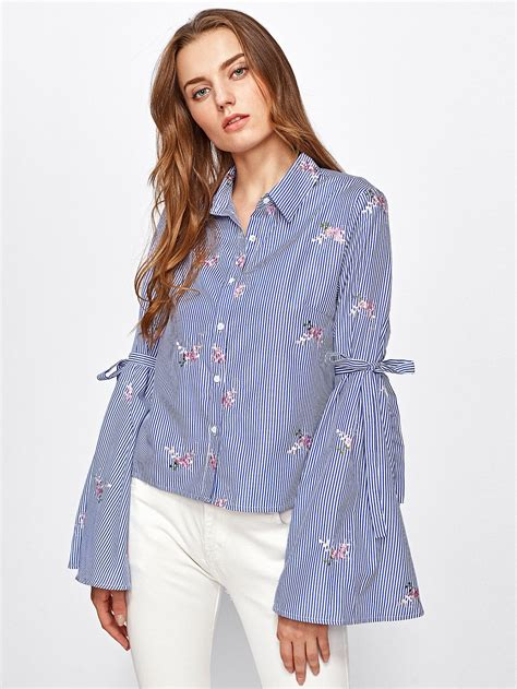 Embroidery Sabrina Blouse 5 drop shoulder lace up sleeve embroidery blouse shein sheinside