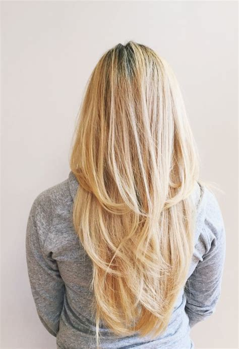 images of blonde layered haircuts from the back layered long beige blonde straight hair in a v shape