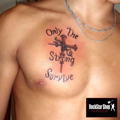 only the strong survive tattoo lettering and cross picture at checkoutmyink