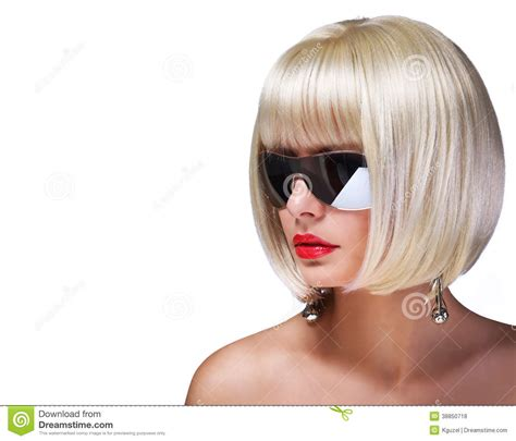 white girl bob haircut fashion blonde model with sunglasses stock photo image