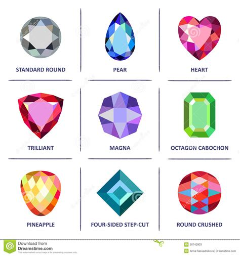low poly popular colored gems cuts infographics stock