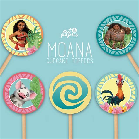 printable cake toppers printable moana cupcake toppers instant diy