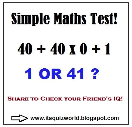 quiz questions related to maths 40 40 x 0 1 quiz world