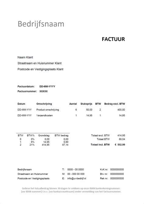 Voorbeeld Factuur Bouw factuur voorbeeld gratis factuur in word