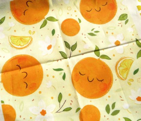 orange citrus pattern  larger print fabric